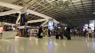 THAILAND, BANGKOK, APRIL 13, 2014: People in duty free area inside Bangkok international airport in Thailand