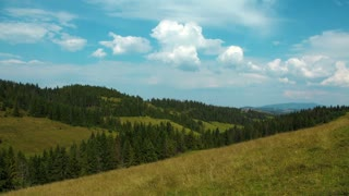 Time lapse of clouds and beautiful green mountains with coniferous trees. Timelapse without birds and defects