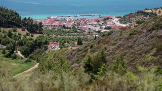 Top view of the Nea Skioni village, Kassandra peninsula, Halkidiki, Greece