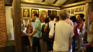 UKRAINE, RADOMYSHL, JUNE 7, 2014: People at excursion inside historical and cultural complex