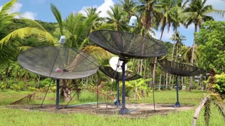 Satellite dishes in wood amongst palm trees on the Koh-Chang island, Thailand