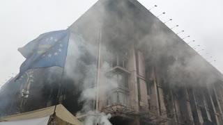 UKRAINE, KIEV, MARCH 4, 2014: Political crisis. Burnt down building of trade union and barricades on the Khreshchatyk street and Independence square