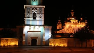Temple of Mikhailovsky Golden-roofed Monastery on Mikhailovskaya square in Kiev, Ukraine (St. Michael's Golden-Domed Monastery). Ukrainian Orthodox Church of the Kyivan Patriarchate