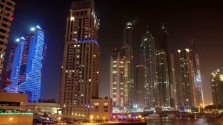 4K (4096x2304) Time Lapse: Futuristic Night Dubai Marina, United Arab Emirates