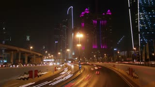 4K (4096x2304) Timelapse: Dubai city traffic at night, United Arab Emirates