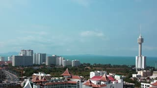 4K (4096x2304) Timelapse: Panorama view of Pattaya city and Gulf of Siam, Chonburi province, Thailand. Video without birds and defects