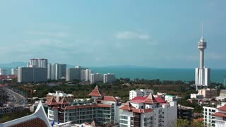 4K (4096x2304) Timelapse: Panorama view of Pattaya city and Gulf of Siam, Chonburi province, Thailand