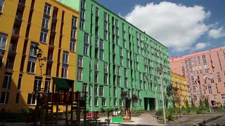 A buildings with many-coloured facades