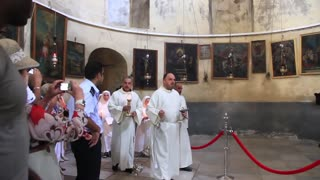 Act of worship in Church of the Nativity in Bethlehem, Israel