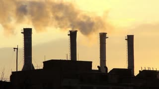 Air pollution on old heat electropower station