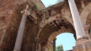 Ancient gate of Roman emperor Adrian at Antalya city center Turkey