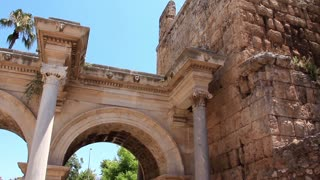 Ancient gate of Roman emperor Adrian at Antalya city center Turkey