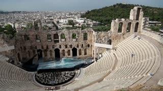 Ancient theatre near a Parthenon temple, Athenian Acropolis, Greece