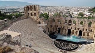 Ancient theatre near a Parthenon temple, Athenian Acropolis in Greece