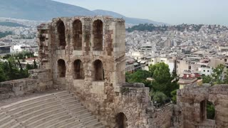 Ancient theatre near a Parthenon temple in Athenian Acropolis, Greece