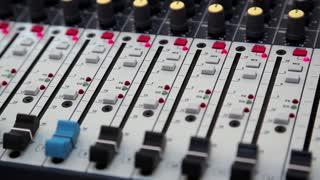 Audio production console in audio recording studio. Recording hall