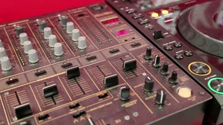 Audio production console in sound-recording studio