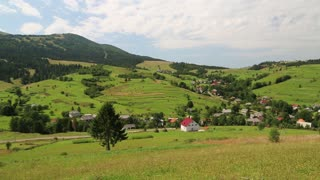 Beautiful green hills and village