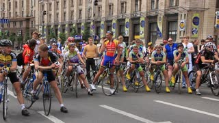 Bicyclists video stock footage