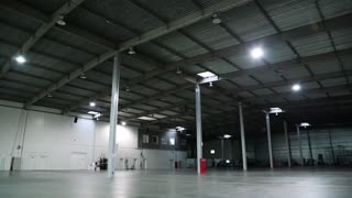Big storage room. Inside of empty warehouse