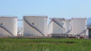 Big white oil storage tanks in Antalya, Turkey