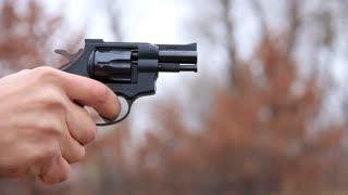 Black revolver video stock footage