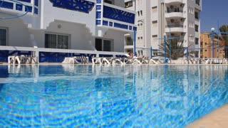 Blue swimming pool in hotel in Tunisia