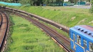 Blue train. Metro in Kiev, Ukraine