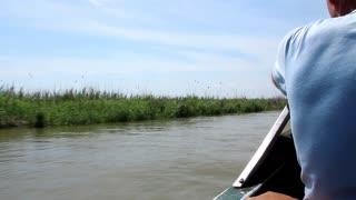 Boatman on Danube river