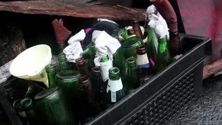 Bottles for Molotov cocktail near barricades on the Khreshchatyk street in Kiev, Ukraine, March 4, 2014