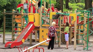 Boys and girls on childrens playground