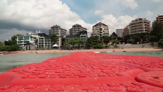 Buildings on the shore of Gulf of Siam in Pattaya, Thailand. View from the sea