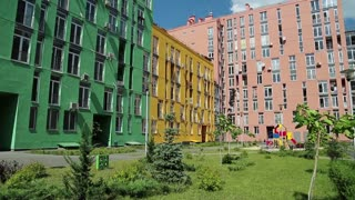 Buildings with a many-coloured facades