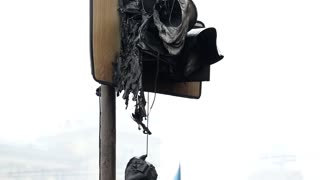 Burned traffic light on the Khreshchatyk street in Kiev, Ukraine, March 4, 2014
