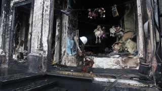Burnt building in Kiev, Ukraine
