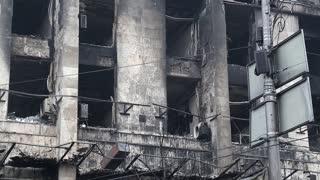 Burnt building of trade union on the Khreshchatyk street in Kiev, Ukraine, March 4, 2014