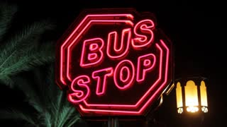 Bus stop red sign