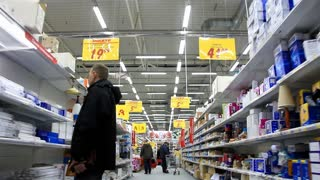 Buyers in shopping area. Customers in supermarket. Timelapse 1080p