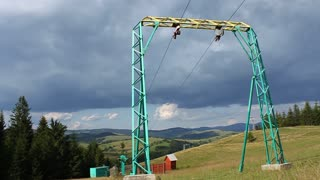 Cableway in Carpatian mountains
