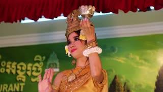 CAMBODIA, SIEM REAP, APRIL 2, 2014: Cambodian theatre in local restaurant in Siem Reap city