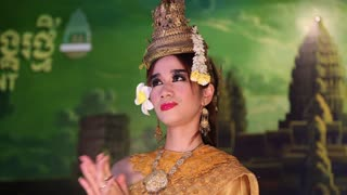 CAMBODIA, SIEM REAP, APRIL 2, 2014: Traditional Apsara dancer in local restaurant in Siem Reap city, Cambodia