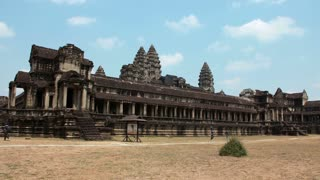 CAMBODIA, SIEM REAP, APRIL 3, 2014: 4K (4096x2304) Timelapse: People in Angkor Wat - temple complex and the largest religious monument in the world, Siem Reap province in northwestern Cambodia