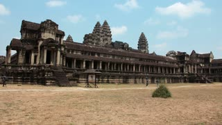 CAMBODIA, SIEM REAP, APRIL 3, 2014: 4K (4096x2304) Timelapse: People in Angkor Wat - temple complex and the largest religious monument in the world, Siem Reap province in northwestern Cambodia.