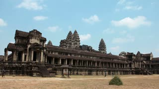 CAMBODIA, SIEM REAP, APRIL 3, 2014: Timelapse 1080p: People in Angkor Wat - temple complex and the largest religious monument in the world, northwestern Cambodia. Video without birds and defects