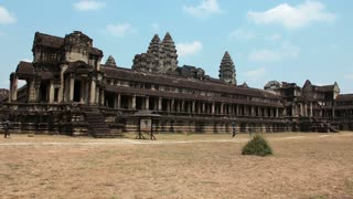 CAMBODIA, SIEM REAP, APRIL 3, 2014: Timelapse 1080p: People in Angkor Wat - temple complex and the largest religious monument in the world, Siem Reap province in northwestern Cambodia