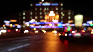 Cars in night city, defocused and with stereo sound
