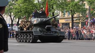 Ceremonial parade at Kiev main street - Khreshchatyc - dedicated to the 65th Anniversary of victory in Great Patriotic War (World War II). Parade of victory. Ukraine Kiev May 9 2010.