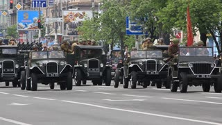 Ceremonial parade at Kiev main street - Khreshchatyc - dedicated to the 65th Anniversary of victory in Great Patriotic War (World War II). Parade of victory. Ukraine Kiev May 9 2010.