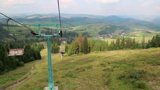 Chair lift in Carpathian Mountains in Ukraine