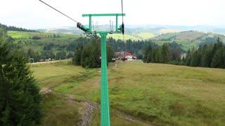 Chair lift in Carpathian Mountains, Ukraine